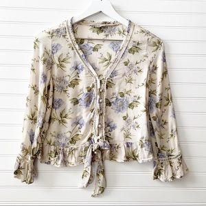 AMERICAN EAGLE floral peasant tie knot blouse XS